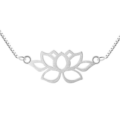 Lotus Fun S925 Sterling Silver Necklace Pendant Hollow Out Lotus Pendant with Necklaces Link Chain Length 17inches, Handmade Unique Jewelry for Women and Girls