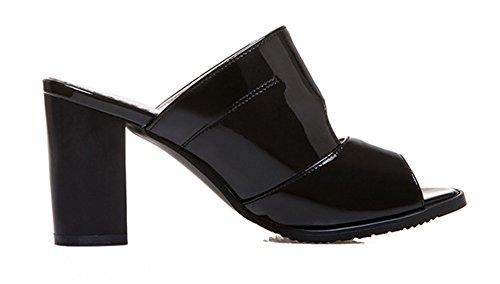 b4517e6d0a7 SHOWHOW Women s Fashion Slip On Peep Toe Block Heels Mule Sandals Black 8.5  B(M