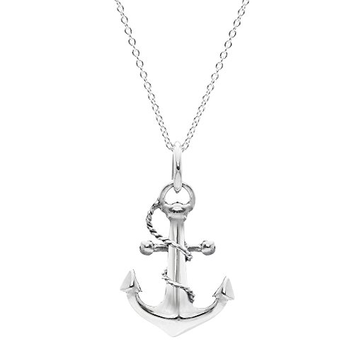 Silverly Women's .925 Sterling Silver Nautical Anchor Rope Detail Pendant Chain Necklace, 46cm