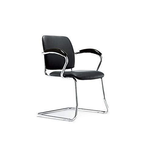 Executive Recline Armchair Office, Executive Cantilever Office Chair, Chrome Framed Black Leather - Visitor Chair Padded Office Chair