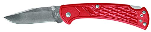 Buck Knives 0112RDS2 Ranger Slim Select Folding Lockback Pocket Knife with Thumb Studs & Removable/Reversible Deep Carry Pocket Clip, Nylon Handles, 420HC Blade, Red