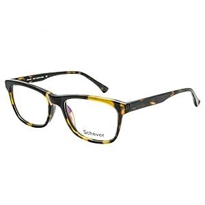 Schever Unisex Hand Made Rectangle Non-prescription Glasses Frame Clear Lens Eyeglasses SV3202(Tortoise, 52mm)