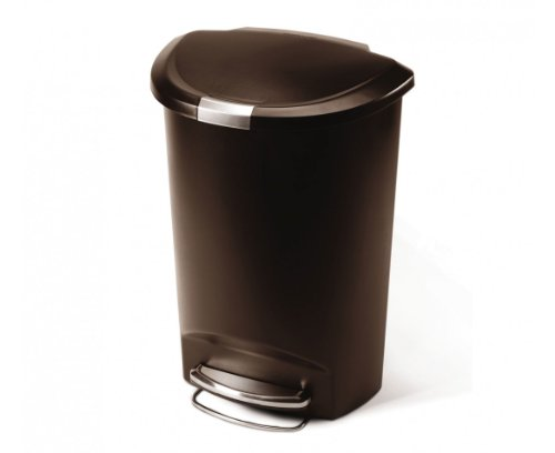 simplehuman Semi-Round Step Trash Can, Mocha Plastic, 50 ...