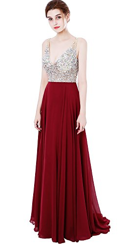 Meilishuo Women's Jewelry Deep V-Neck Beaded Chiffon Prom Dress Long Evening Gown For Party (Gown Chiffon Beaded)