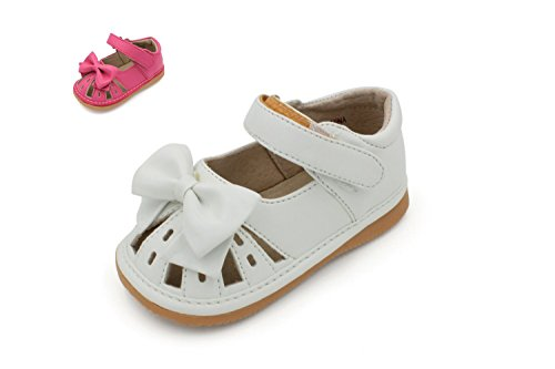 Toddler Shoes | Squeaky White or Hot Pink Bow Sandal Toddler Girl Shoes | Premium Quality (Removable Squeakers)