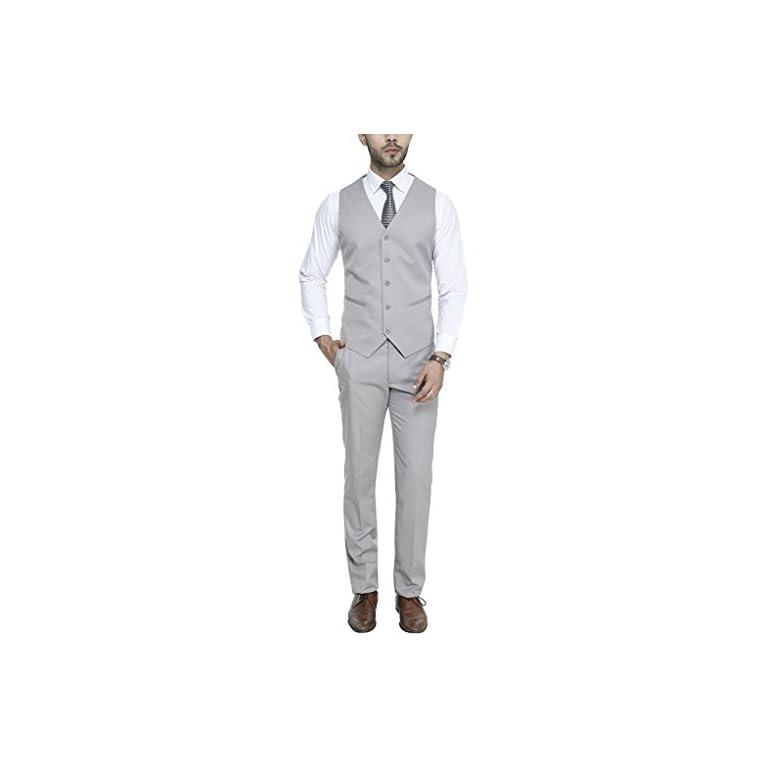 31npGcP1GNL. SS768  - MANQ Men's V.Neck Five Button Slim Fit Formal/Party Waist Coat
