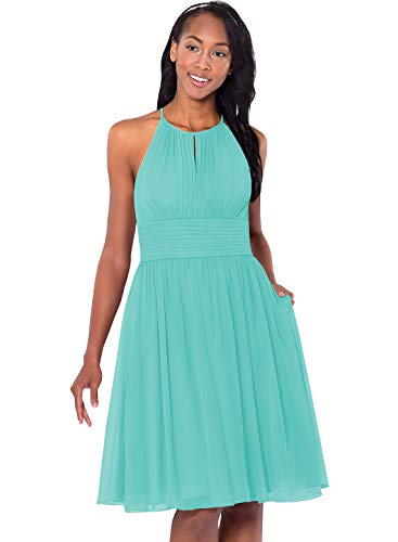 Women's Plus Size Halter A Line Chiffon Ruched Bridesmaid Dress Short Cocktail Homecoming Gown with Pockets Turquoise Size 20W