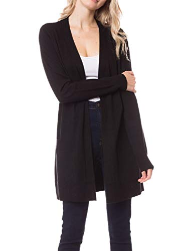 Womens Light Weight Open Front Long Cardigan with Pocket (Medium, Black)