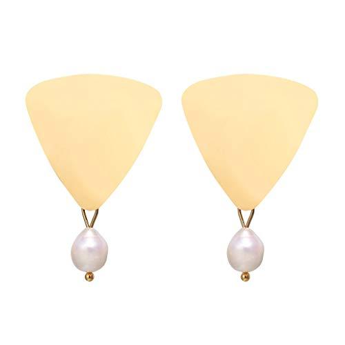 MONISE- Jewelry Shaped Beads Earrings for Women Girls, Hypoallergenic Earring,Sector Shape Irregular Pearl Drop Earring (Gold)