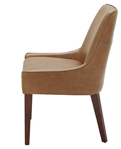 """Amazon Brand – Rivet Contemporary Welt-Trimmed Dining Chair, 35""""H, Cognac, Set of 2 - The understated welt trim provides a decorative element to this simple but chic dining chair. The cognac-colored leather upholstery will blend with any color scheme and is durable and low maintenance. A solid wood frame and legs support this comfortable, low-armed seat. 23""""W x 25""""D x 35""""H; seat height: 20""""H; seat depth: 17""""D; seat back height: 15""""H Set of 2 - kitchen-dining-room-furniture, kitchen-dining-room, kitchen-dining-room-chairs - 31npJzm8iPL -"""