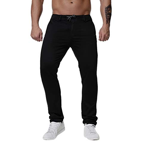 Men's Straight Fit Pants Slim Fit 2019 New Summer Casual Trousers Work Pants with Drawstring (XXXXL, Black)