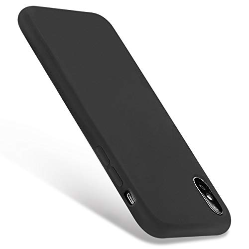 iPhone X Case,Liquid Silicone Gel Rubber Smooth Slim Thin Shockproof Case Soft Microfiber Cloth Lining Cushion for Apple iPhone X Black