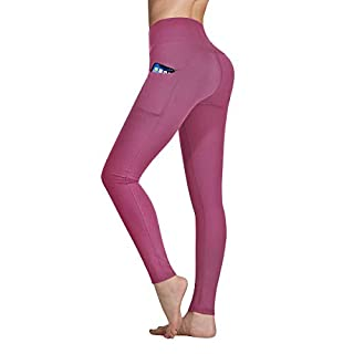 Occffy High Waist Yoga Pants for Women with Pockets Tummy Control Leggings Workout Running Tights DS166 (Begonia Pink, Medium)