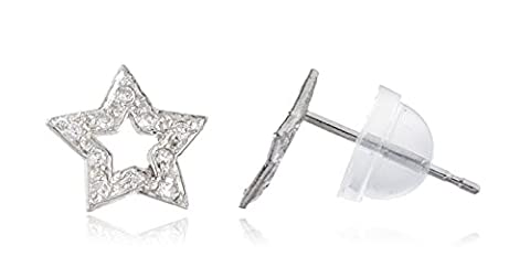 14k White Gold 5-point Star with Cz Stones Stud Earrings With Silicone Back (GO-825) (14k White Gold Star)
