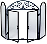 3 Fold Black Wrought Iron Screen With Scrolls For Sale