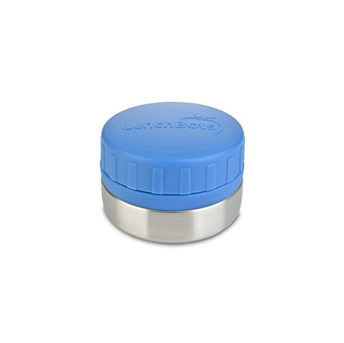 (LunchBots Rounds 4oz Stainless Steel Non-insulated Leak-Proof Snack Container for Kids and Adults - Small Food Jar for Dressings, Dips, and Finger Foods - Dishwasher Safe - Royal Blue)