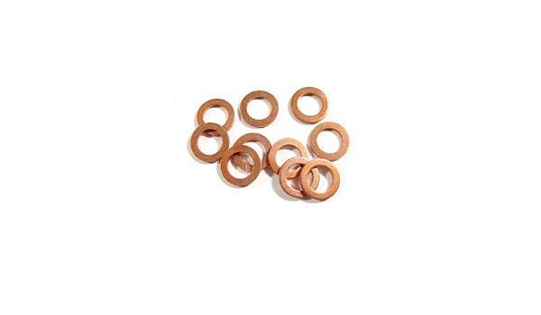 20 piezas de 10 mm de di/ámetro interno Arandelas de cobre Juntas de sellado plano Anillos