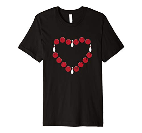 I Love Bowling Heart T-Shirt Fun Graphic Strikes Turkeys ()