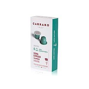 Caffè Carraro, Crema Espresso Carraro, Compatibili Nespresso compostabili, 12 Astucci da 10 Capsule: 120 Capsule