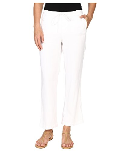 NYDJ Women's Jamie Relaxed Ankle Pants in Stretch Linen, Optic White, 18