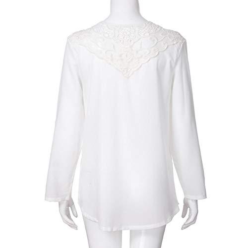Top Blouse en Dentelle Tee Casual Innerternet Zipper Vrac Neck Chemisier Shirt V Shirt T Blanc Femmes Tops Femmes 677Fnaq