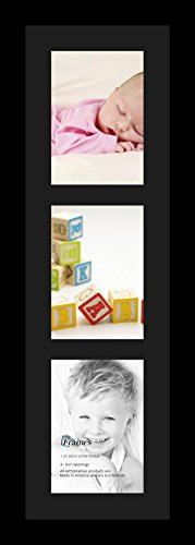 ArtToFrames Collage Photo Frame Single Mat with 3 - 5x7 Openings and Satin Black Frame.