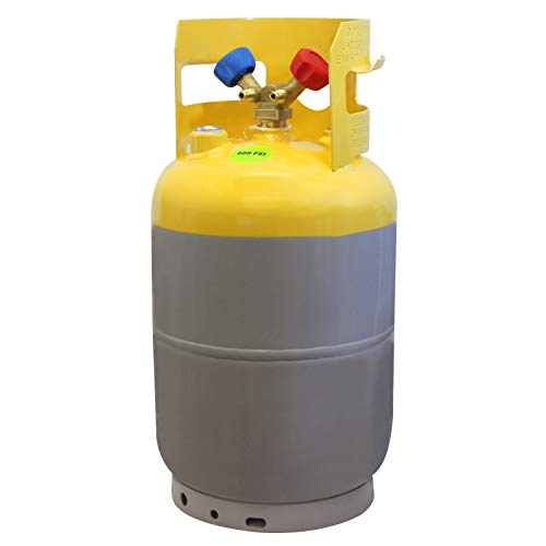 "MASTERCOOL 62010 Gray/Yellow 30 lb Refrigerant Recovery Tank without Float Switch and ¼"" FL-M (7/16-20)"