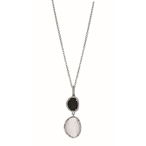 Sterling Silver 10.9x9.2mm Onyx Moonstone Pendant Trimmed 0.075ct. White Diamond Necklace - 18 Inch