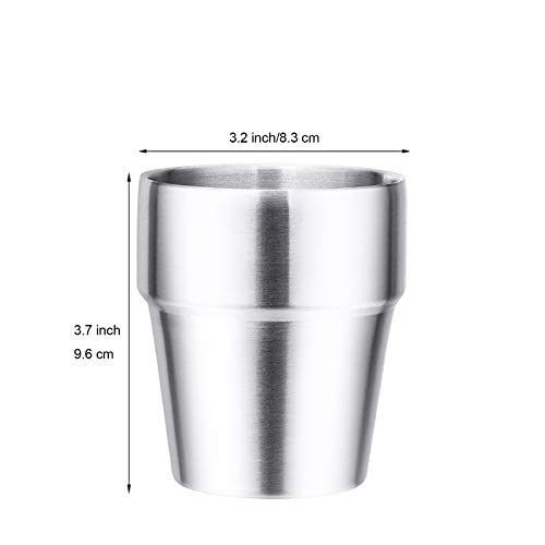 ATREASURE Set of 8 Stainless Steel 18/8 Cups Double Wall Double Walled Coffee Tumbler Kids Drinking Cups Dishwasher Safe 10 oz