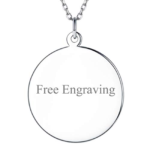 - SILVERCUTE Custom Initial Disc Necklace 925 Sterling Silver Minimalist Personalized Circle/Heart Dog Tags Pendant Text Engravable with Name/Date/Locations (Small Circle Disc)
