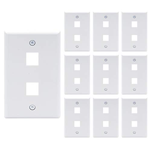 - [UL Listed] VCE 10 Pack 2-Port Keystone Wall Plate for Keystone Jack and Modular Inserts- White