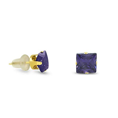 Crookston 10k Yellow Gold Square Stud Earrings -Purple Amethyst ~February Birthstone | Model ERRNGS - 14898 | 6mm - Large