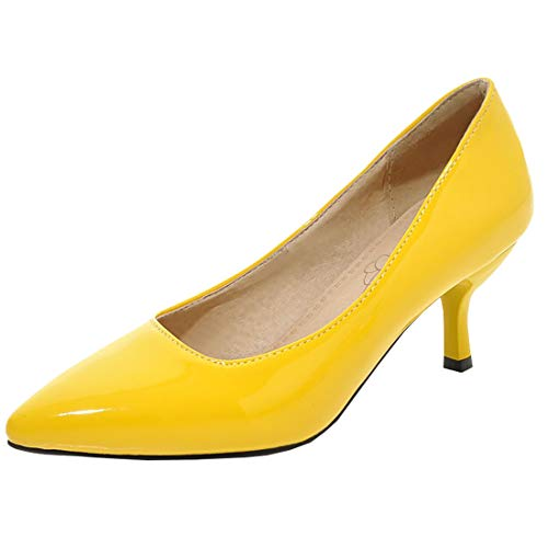 Artfaerie Womens Mid Kitten Heel Pointed Toe Pumps Patent Leather Dress Court Shoes (US 11.5, Yellow)