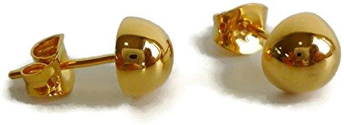ed 8 mm Round Half Ball Button Stud Earring Unisex Jewelry ()