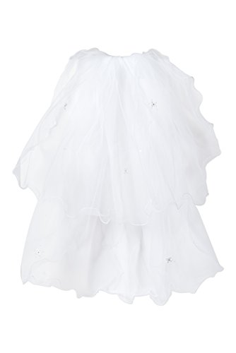 First Holy Communion White Tulle Veil with Embroidered Flowers