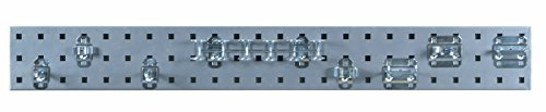 Triton Products Locking Pegboard Hooks LBS36T-SLV Silver Tool Pegboard Kit with (1) 36 In. x 4.5 In. 18 Gauge Steel Square Hole Pegboard and 8 pc LocHook Assortment, 36 x 4.5