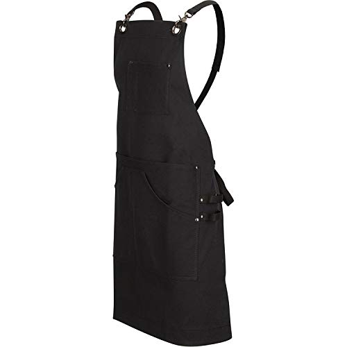 Customer Driven Professional Barbeque BBQ Apron, 6 Pocket Heavy Duty 16 Ounce Cotton Canvas Grilling Apron, Extra Large Front Pockets, Adjustable Fit for Men and Women, Chefs Kitchen Utility Apron