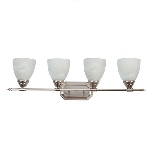(Y Decor L324BN Modern, Transitional, Traditional 4 Light Bathroom Vanity Fixture Brushed Nickel with White Glass By , Brushed Nickel, Silver )