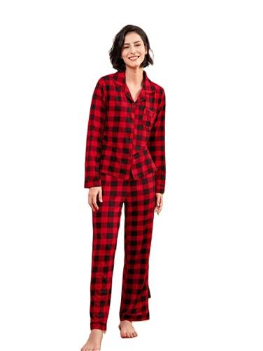 pajamas for women satin pajamas for women ladies pajamas button up pajamas for women Red Grid XL