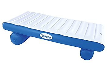 Bestway 43107 - Flotador Extra Confort Luxury Float - Colchoneta hinchable (177 x 94 cm), color blanco y azul - Incluye parche de reparación: Amazon.es: ...