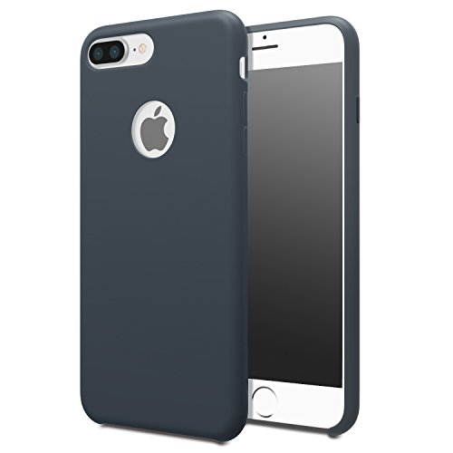 for iPhone 7 Plus Case - MoKo Slim Shockproof Liquid Silicone Gel Rubber Protective Case Soft Touch Back Cover for Apple iPhone 7 Plus 2016, Midnight Blue