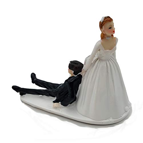 (SCHOLMART Funny Bride and Groom Decorative Wedding Cake Toppers - Cake Topper Figurines, Keepsake Decorations in Unique Pose (Reluctant Groom))