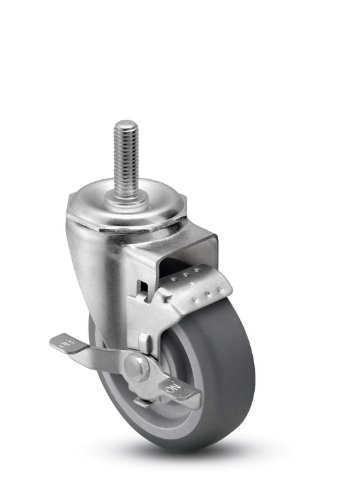 Shepherd-Institutional-Series-3-Diameter-Ball-Bearing-Urethane-Wheel-Swivel-Caster-with-Tread-Brake-12-Diameter-x-1-Length-UNC13-Threaded-Stem-250-lbs-Capacity-Gray