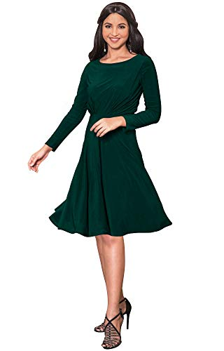KOH KOH Womens Long Sleeve Dressy Aline Fall Winter Formal Flowy Work Empire Waist Knee Length Vintage Swing Modest Cute Abaya Mini Midi Dress Dresses Emerald Green M 810