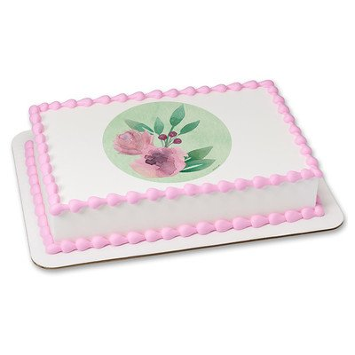 Watercolor Flowers Edible Icing Image for 1/4 sheet cake