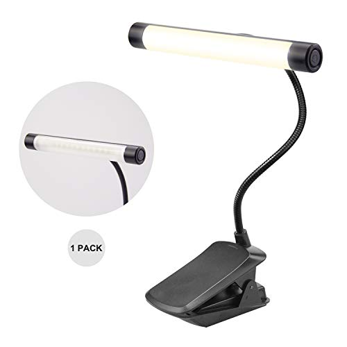 HONWELL Music Stand Light Clip on Light Piano Light Rechargeable Book Light 3 Levels Brightness Clamp Reading Light Cordless Super Bright 12 LED Orchestra Lamp for Mixing Work Craft Desk Bed Headboard