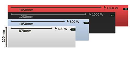 Radiador el/éctrico Convector ultra delgado 200 mm Color negro 800 W