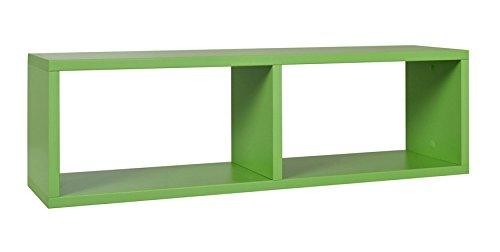 Kinderzimmer - Hängeregal/Wandregal Luis 10, Farbe: Grün - 24 x 80 x 20 cm (H x B x T)