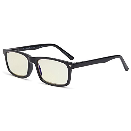 GAMMA RAY 899 Computer Readers UV Protection, Anti Glare, Anti Blue Light Eyeglasses, Spring Hinge Video Gaming Frames - With 0.00x Magnification by Gamma Ray Optics