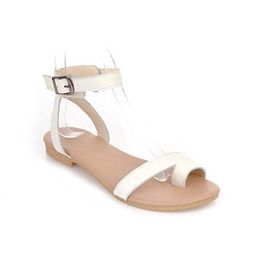 Amoonyfashion Kvinners Ku Lær Fast Spenne Split Tå No-hæl Flip-flop-sandaler Hvit